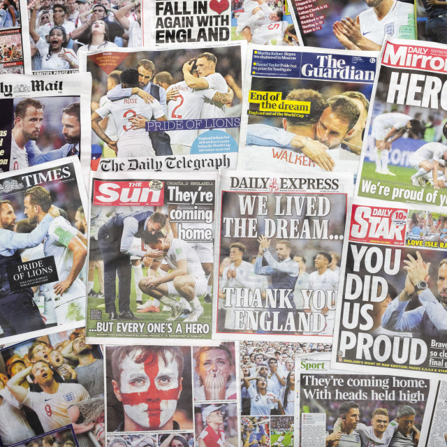"""British newspapers reporting on England's World Cup defeat 2018"" stock image"
