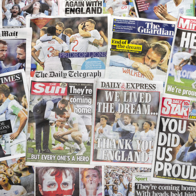 """""""British newspapers reporting on England's World Cup defeat 2018"""" stock image"""