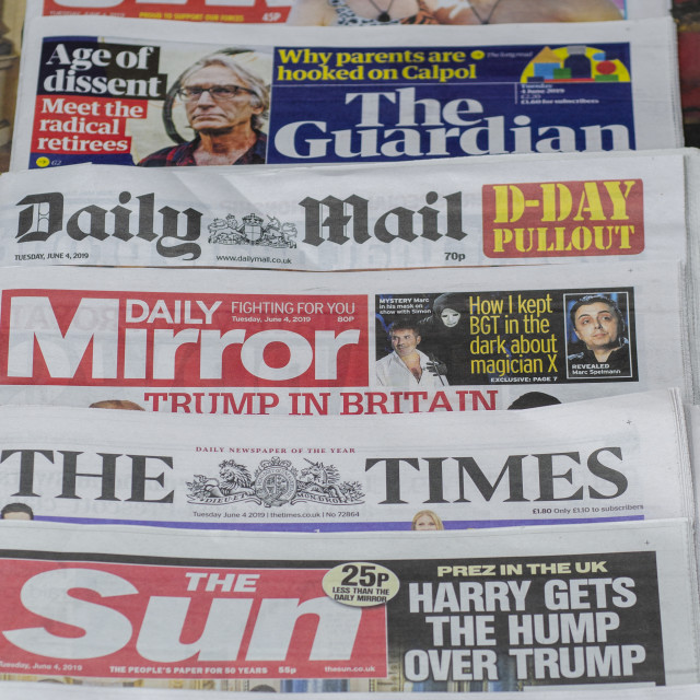 """""""Pile of English Newspapers from the United Kingdom"""" stock image"""