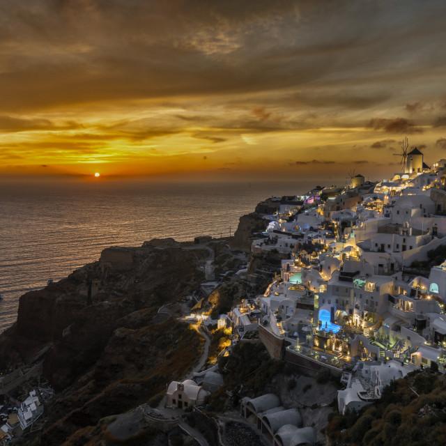 """Sunset at Oia - Santorini Island Greece"" stock image"