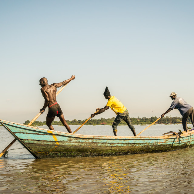 """near Kisumu, Kenya - March 8, 2019 - fishermen in a coast of lake Victoria"" stock image"