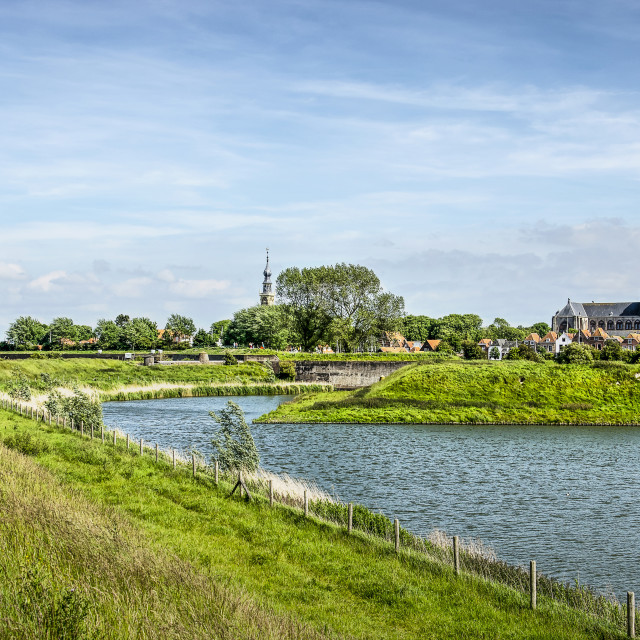 """""""Veere skyline and fortifications"""" stock image"""