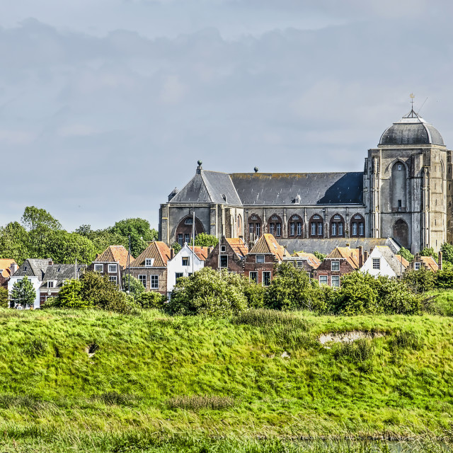 """""""Church and houses in the town of Veere"""" stock image"""