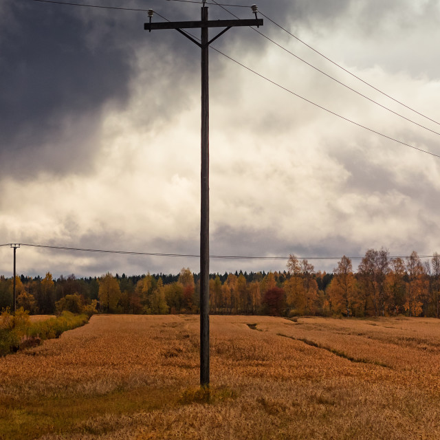 """""""Telephone Pole Under The Heavy Clouds"""" stock image"""