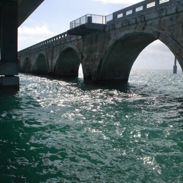 """Under the Seven mile bridge"" stock image"
