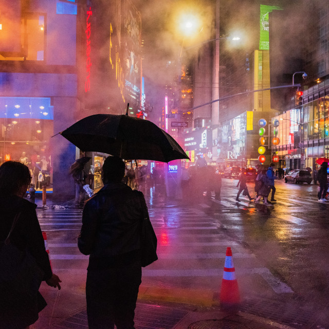 """Time Square In The Rain"" stock image"