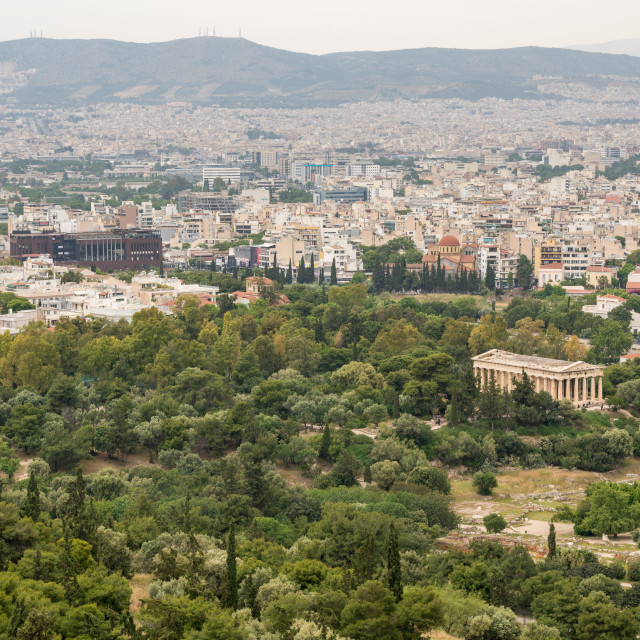 """""""Temple of Hephaestus in Greek Agora taken from the Acropolis"""" stock image"""