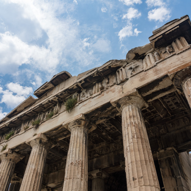 """""""Detail of the Temple of Hephaestus in Greek Agora"""" stock image"""