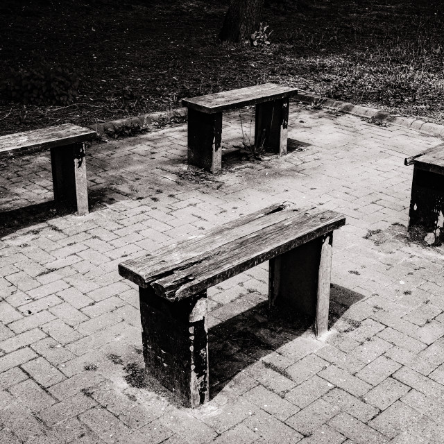 """""""Four Benches"""" stock image"""