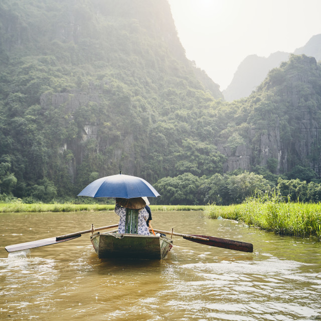"""""""Boat with tourists against karst formation"""" stock image"""