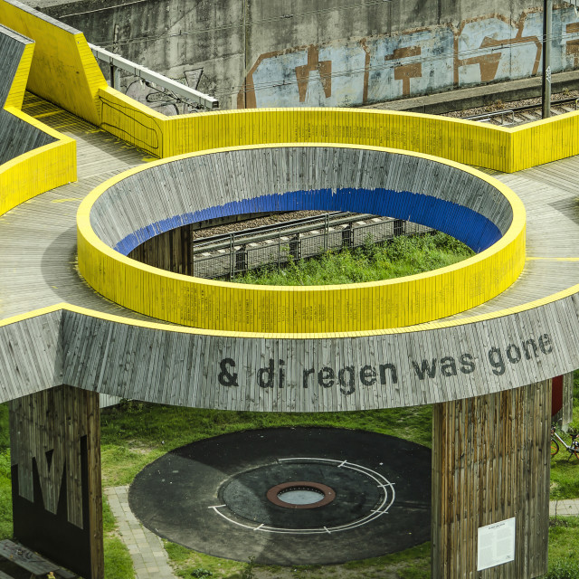"""Yellow wooden pedestrian bridge"" stock image"