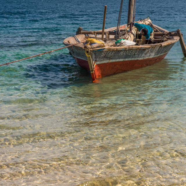 """""""Moored Dhow Quilalea Island"""" stock image"""