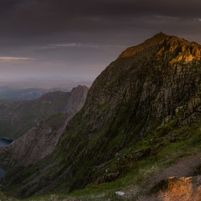 """Last light on Snowdon, North Wales"" stock image"