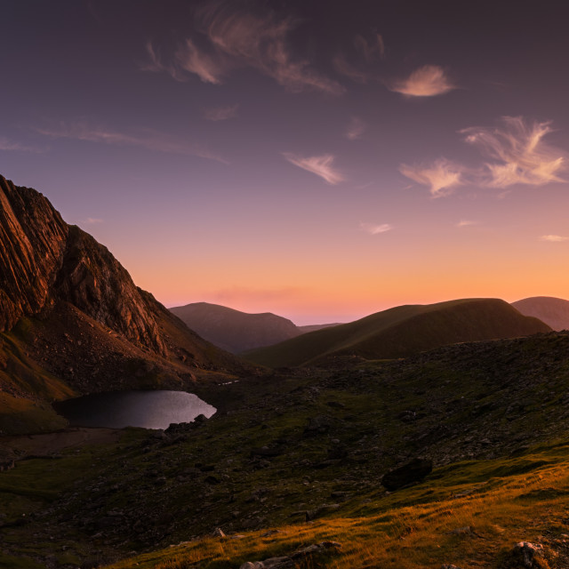 """Wispy clouds over Clogwyn Goch, Snowdonia"" stock image"