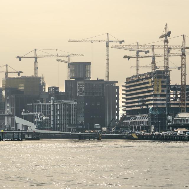 """Tower crane ballet in Rotterdam"" stock image"
