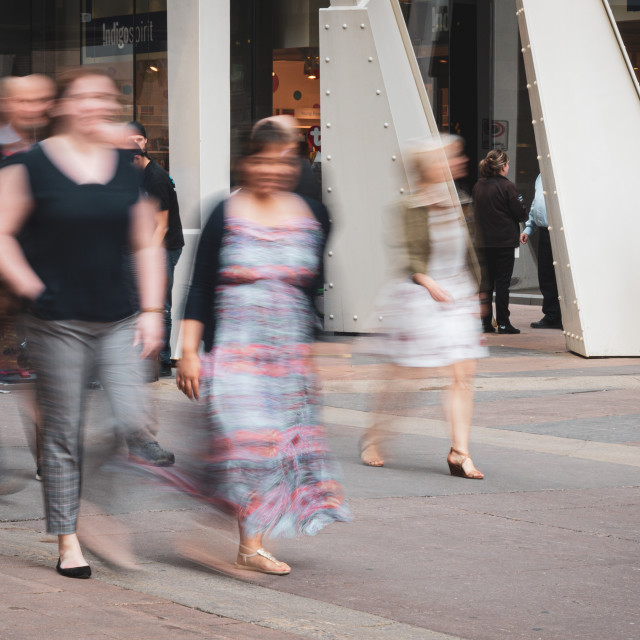 """People on a city street in motion"" stock image"