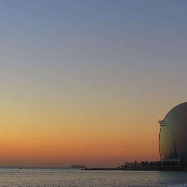 """Barceloneta sunset"" stock image"