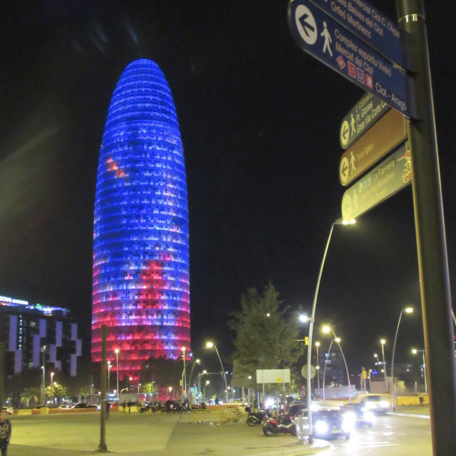 """""""Torre Agbar at night"""" stock image"""