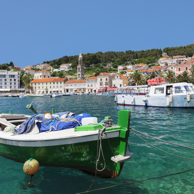 """Fishing boats at the port, Hvar, Hvar Island, Dalmatia, Croatia"" stock image"