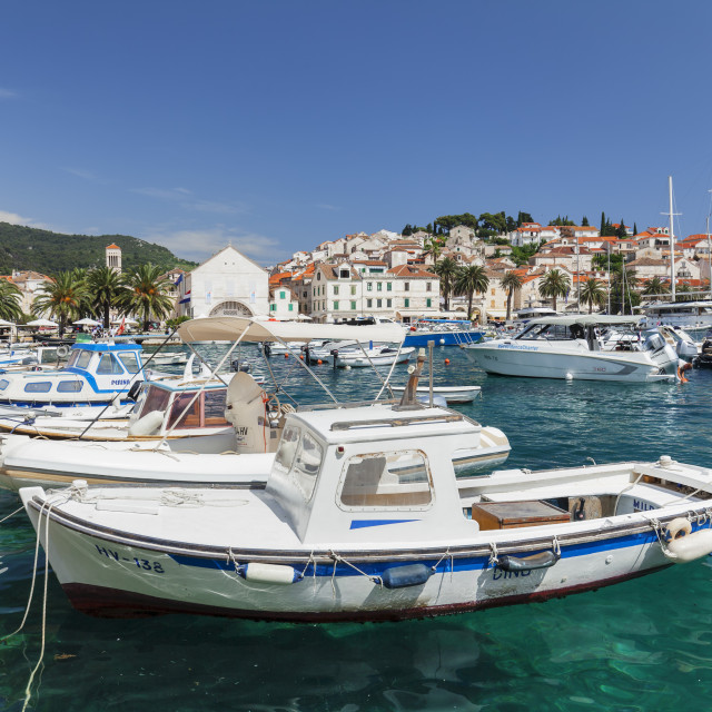 """""""View from port to Sveti Stjepan Cathedral and Arsenal, Hvar, Hvar Island,..."""" stock image"""