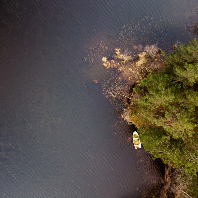 """""""Top down view with boat"""" stock image"""