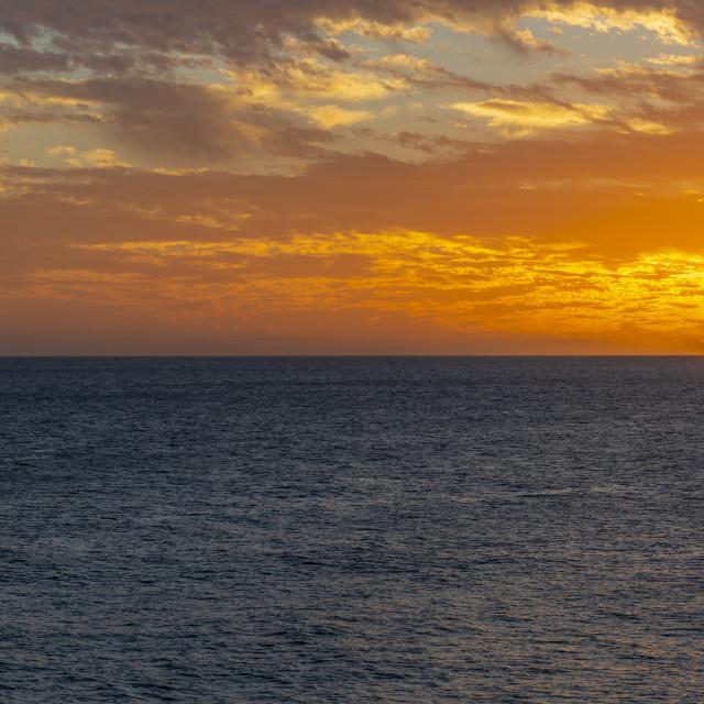 """View of West Coast sunset, Bridgetown, Barbados, West Indies, Caribbean,..."" stock image"