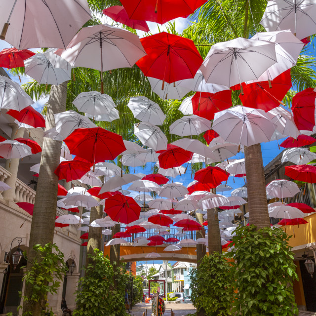 """Red and white umbrellas in shopping mall at Holetown, Barbados, West Indies,..."" stock image"
