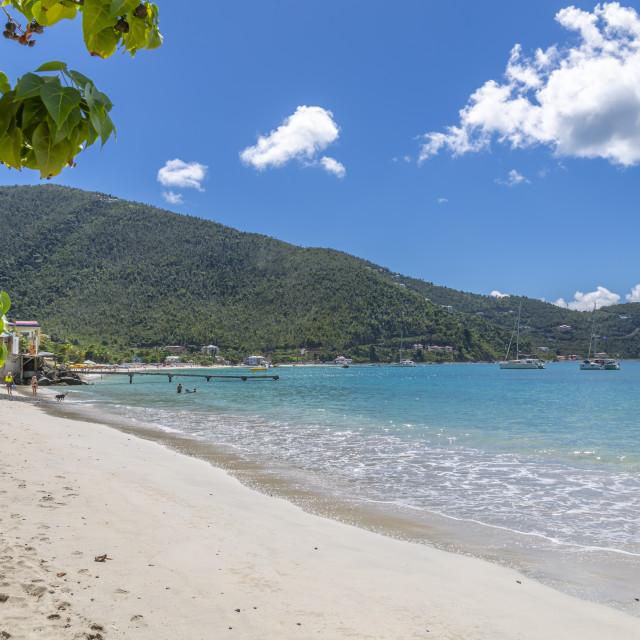 """""""View of Cane Garden Bay Beach, Tortola, British Virgin Islands, West Indies,..."""" stock image"""