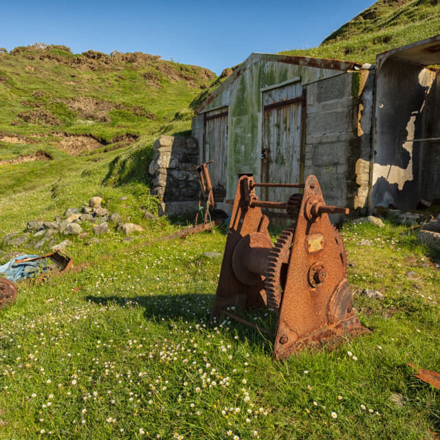 """""""Fishing hut Porth Ysgaden"""" stock image"""
