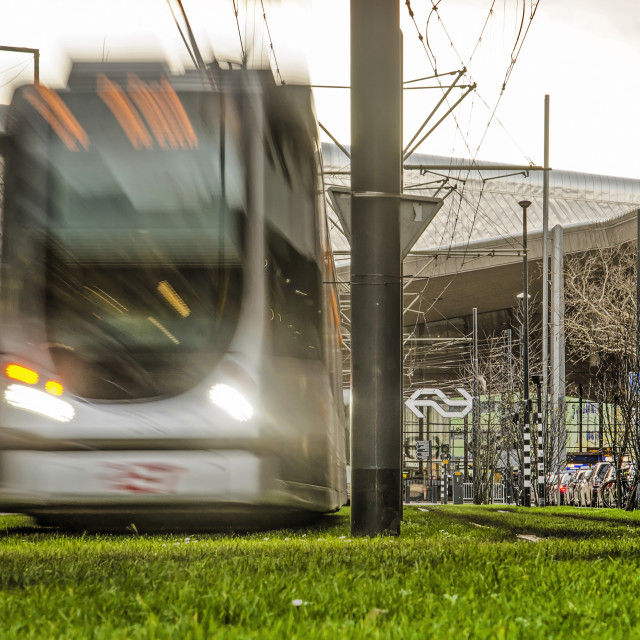 """""""Tram in motion blur at central station"""" stock image"""