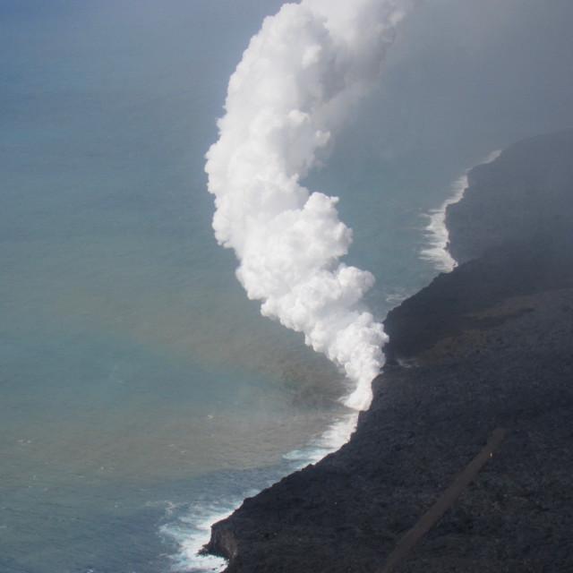 """Kilauea lava flow- aerial"" stock image"