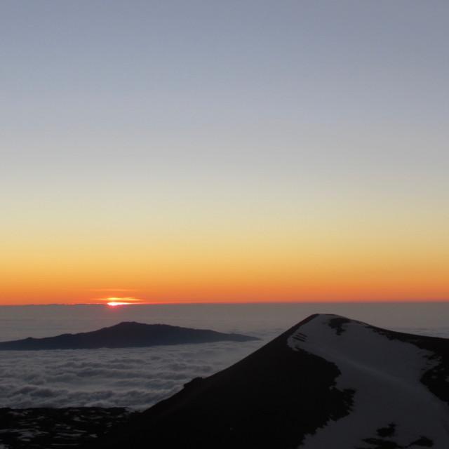 """Mauna Kea watches Haleakala"" stock image"