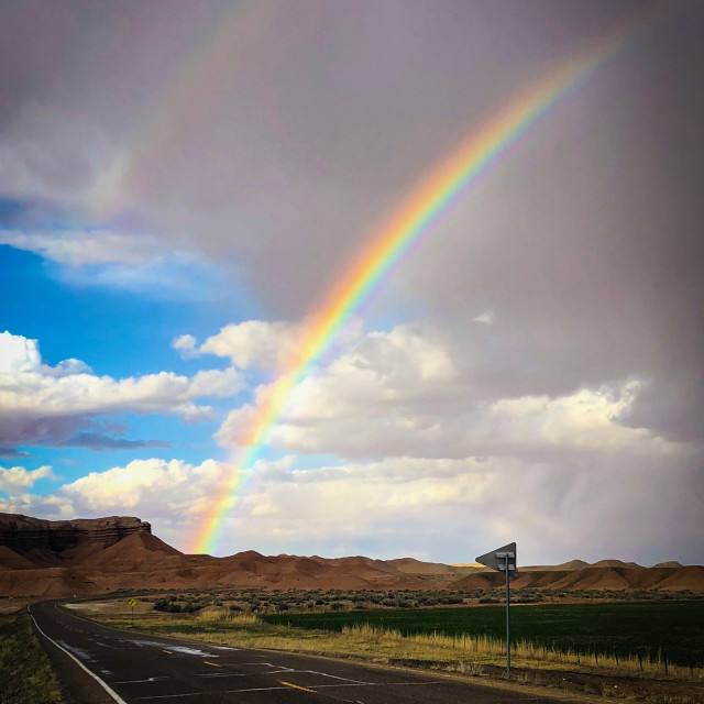"""""""Capitol Reef Double Rainbow"""" stock image"""