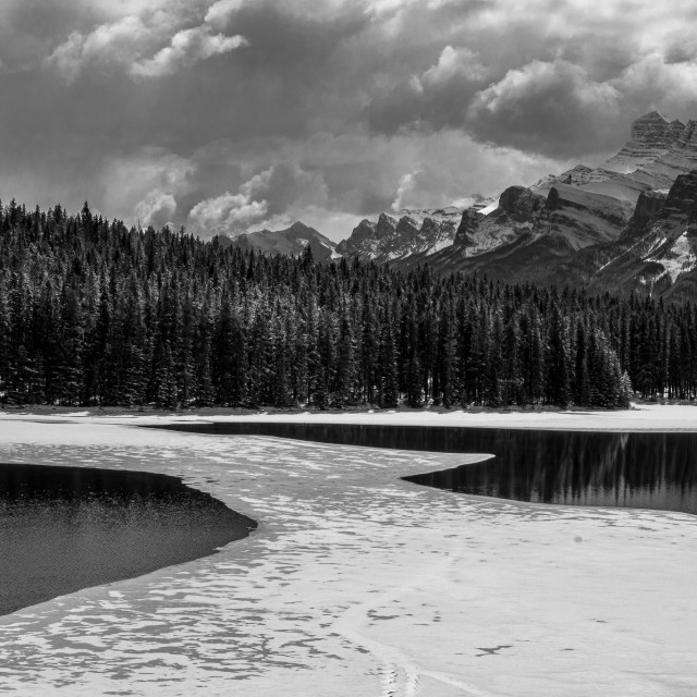 """""""Two Jack's Lake in Black and white"""" stock image"""