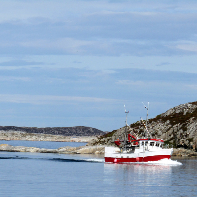"""Fishing boat entering Froya, Norway"" stock image"