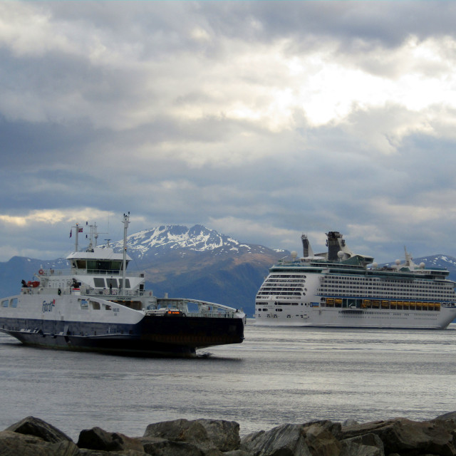 """Ferry & cruise ship leaving Molde, Norway"" stock image"