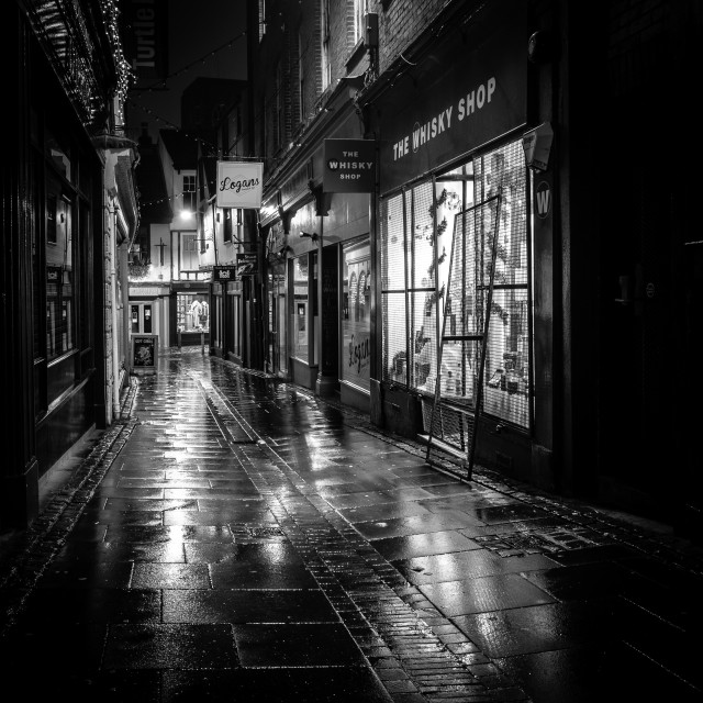 """""""Norwich at night - Back street"""" stock image"""
