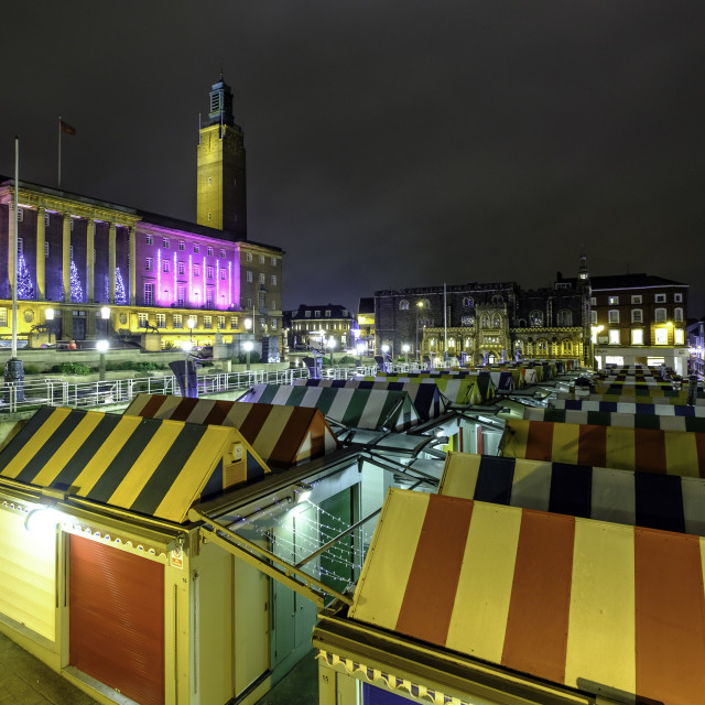 """""""Norwich at night - The Market"""" stock image"""