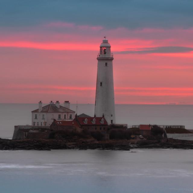 """""""St Marys Lighthouse Sunrise"""" stock image"""