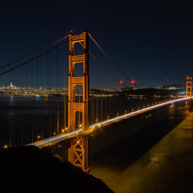 """""""Light Trails across the Golden Gate"""" stock image"""