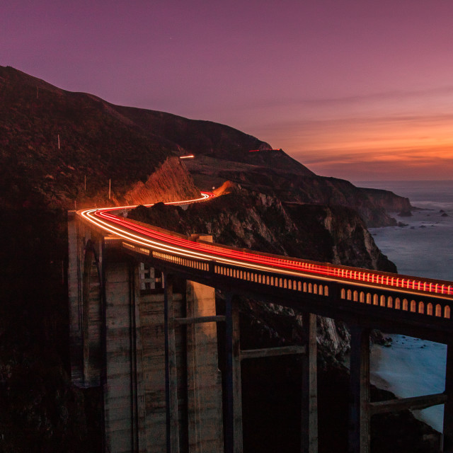"""""""Light Trails at Bixby"""" stock image"""