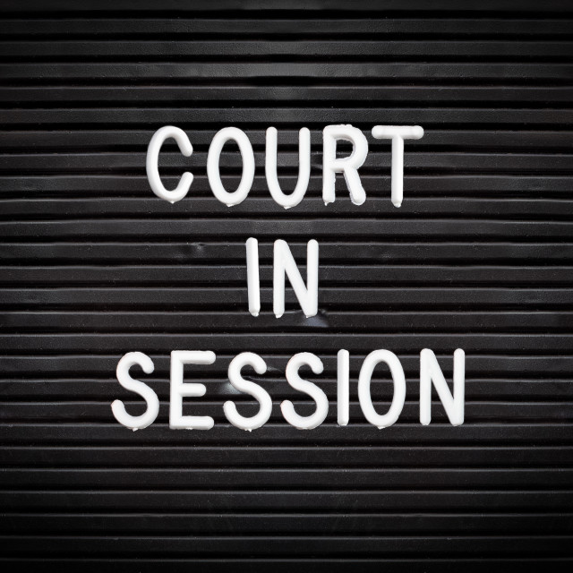 """""""Court In Session Sign"""" stock image"""