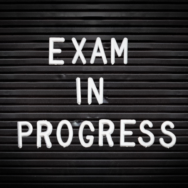 """Exam In Progress Sign"" stock image"