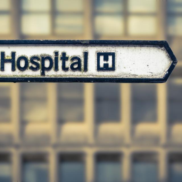 """""""Grungy UK Hospital Sign"""" stock image"""