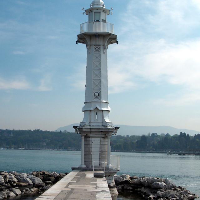 """Les Paquis Lighthouse On Lake Leman"" stock image"