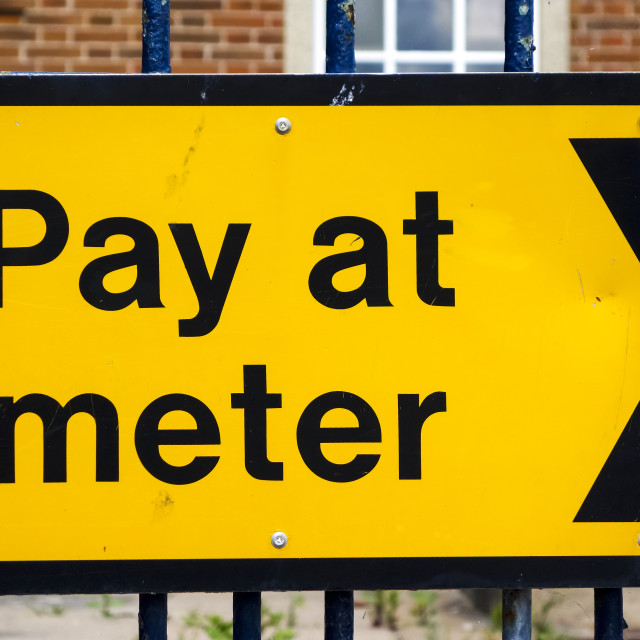 """""""Parking pay at meter sign"""" stock image"""