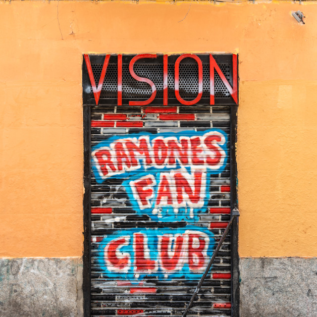 """""""Painted storefront in Malasana district in Madrid"""" stock image"""