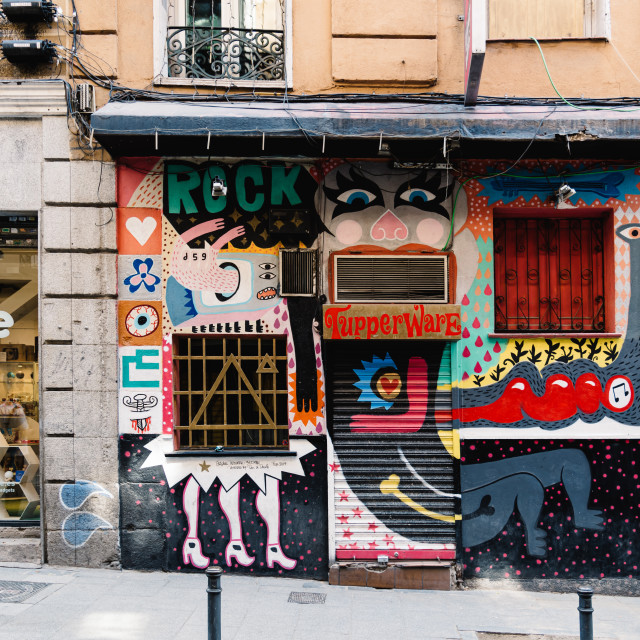 """""""Colorful storefront in Malasana district in Madrid"""" stock image"""
