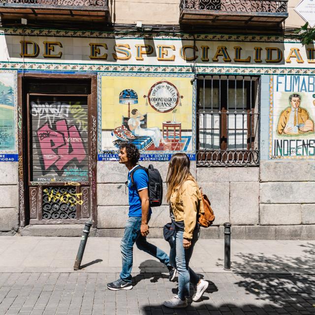 """Vintage storefront in Malasana district in Madrid"" stock image"