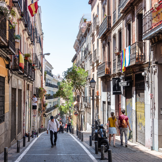 """Cityscape of Malasana district in Madrid"" stock image"